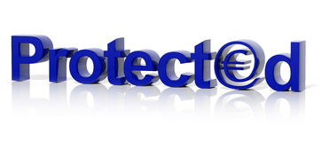 3D blue protected text and money Stock Photo