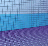 3d blue purple tiled wall floor. 3d render blue purple tiled wall floor pavement Stock Photography