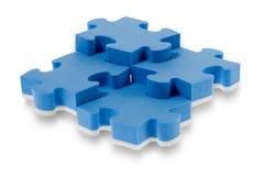 3D blue puzzle stock images