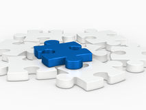 3d blue puzzle piece Stock Image