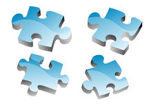 3D blue puzzle pieces. In white background Royalty Free Stock Photo