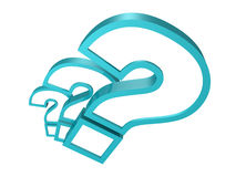 3d blue question marks on white background Stock Image