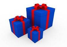 3d blue red white gift box Royalty Free Stock Image