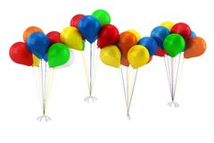 3d blue,red,yellow,green and orange balloons. Isolated on white Stock Photo