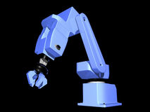3D Blue Robotic Arm. On black background Royalty Free Stock Photos