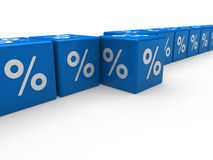 3d blue sale cube percentage Royalty Free Stock Photo