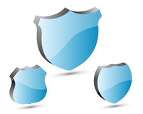 3D blue shields. 3d blue shield set in white background Stock Images