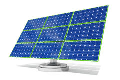 3d blue solar panel with green edges. 3d rendered blue solar panel with green edges rendered with realistic shadows Royalty Free Stock Photos