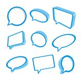 3d blue speech bubbles. Collection of nine blue speech bubbles in 3d. Vector illustration stock illustration