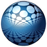 3D BLUE SPHERE WITH REFLECTIONS. Abstract blue isolated 3d ball in white background Royalty Free Stock Images
