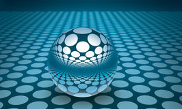 3D BLUE SPHERE WITH REFLECTIONS. Abstract blue isolated 3d ball Stock Photography