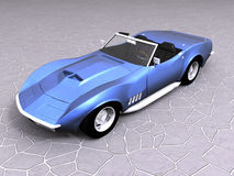 3d Blue sports car. On stone Stock Images