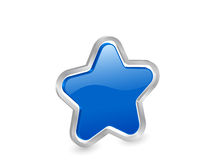 3d blue star with contour. Blue star icon with metal contour, isolated on white background. Vector illustration Stock Photos