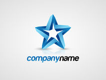 3D Blue star logo. 3D blue star vector logo Royalty Free Stock Photos