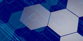 3D Blue Tech Background. Blue Future Tech Background with circuit pathways Stock Images
