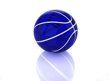 3D blue transparent glossy basketball. With white strips, texture and reflection on white background Royalty Free Stock Photo