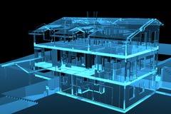 3D blue transparent house. 3D rendered blue transparent house Royalty Free Stock Image
