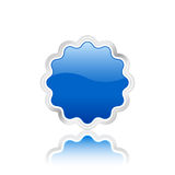 3D blue vector badge. Blue badge icon with metal contour, isolated on white background. Vector illustration Stock Photo