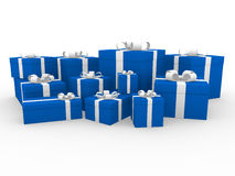 3d blue white gift box. Isolated white background Stock Photography
