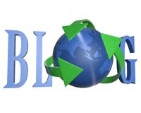 3d blue word Blog. Blue word Blog with 3D globe replacing letter O, arrow Royalty Free Stock Photo