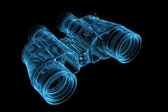 3D blue xray transparent binoculars. 3D rendered blue xray transparent binoculars Royalty Free Stock Photo