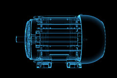 3D blue xray transparent motor. 3D rendered blue xray transparent motor Stock Photos