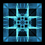 3D blue xray transparent rubics cube. 3D rendered blue xray transparent rubics cube Stock Image