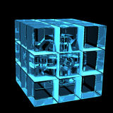 3D blue xray transparent rubics cube. 3D rendered blue xray transparent rubics cube Stock Images
