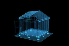 3D blue xray transparent shed. 3D rendered blue xray transparent shed Stock Photo