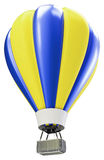 3d blue and yellow balloon. Isolated on white Royalty Free Stock Photography