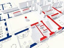 3d blueprint. Fine 3d image of house and blueprint Stock Image