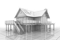 3D Blueprint House. 3D illustration of a large house in blueprint style Royalty Free Stock Photo