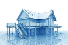 3D Blueprint House. 3D illustration of a large house in blueprint style Stock Photography
