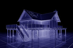 3D Blueprint House Royalty Free Stock Photo