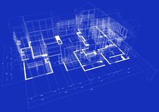 3d blueprint house Stock Photo
