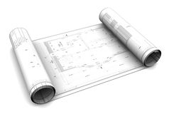3d blueprint roll. 3d illustration of blueprint roll, over white background Royalty Free Stock Image