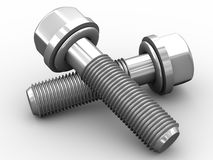 3d bolts. 3d render of steel bolts on white background Royalty Free Stock Images