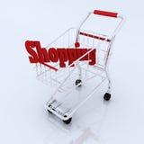 3d boodschappenwagentje met winkelende karakters Stock Illustratie