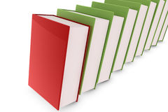 3d books. Red book lying on green books Royalty Free Stock Photos