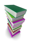 3d books. Illustration of a pile of colored (coloured) books Royalty Free Stock Images
