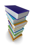 3d books. Illustration of a pile of colored (coloured) books Royalty Free Stock Photo