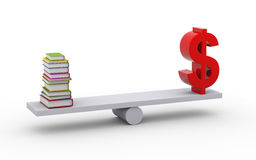 3d books and dollar sign. 3d illustration of stack of books and dollar symbol on scale Royalty Free Stock Photos