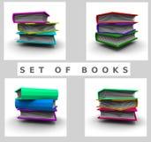 3d books för illustrationskola för clipart tom white Royaltyfria Bilder