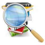 3d books with magnifying glass Stock Images