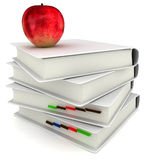 3d books with red  apple back to school. On white background Royalty Free Stock Photos
