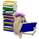 3d books stapeldockasitting Royaltyfri Bild