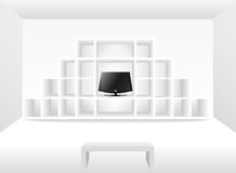 3d  bookshelf with a tv Royalty Free Stock Image
