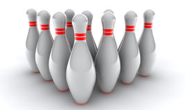 3d bowling. Pins with red s on white background Stock Images