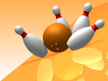 3D. Bowling. Four bowling pins with reflection on a orange background Stock Photos
