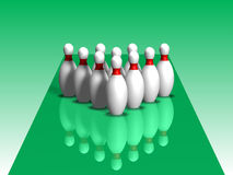 3D. Bowling. Ten bowling alley with reflection on a green background Royalty Free Stock Images